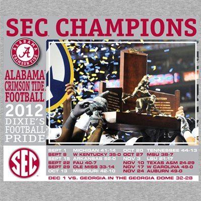 Alabama Crimson Tide 2012 SEC Football Champions Recap T-Shirt