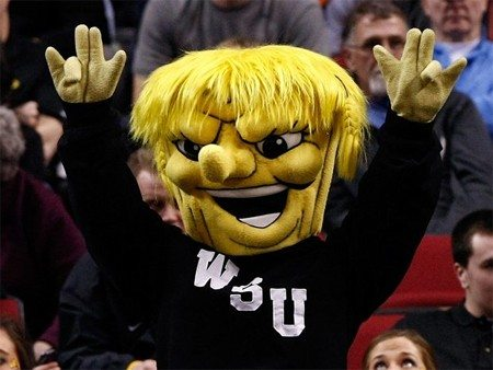 """Incredible: The Wichita State Shocker mascot actually throwing the """"shocker"""" hand gesture. If you don't know, ask someone. This is a family site."""